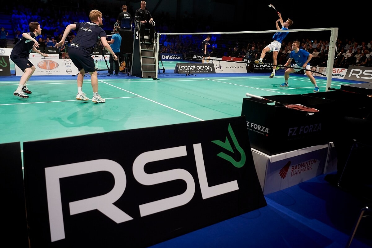 FREDERIKSBERG, DENMARK - APRIL 16: The Danish Badmintonligaen Guldkampen between Skovshoved and TSS Skælskør Slagelse at Frederiksberg Hallen on April 16, 2018 in Frederiksberg, Denmark. (Photo by Lars Rønbøg) - RSL