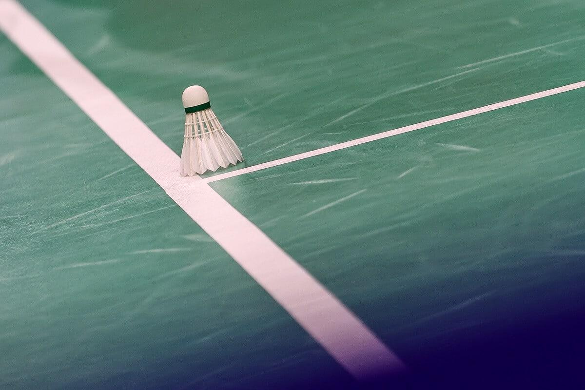 Fjerbold - Shuttlecock - Fjer - Bold - Linje - Grøn bane - hvide linjer - Badmintonphoto
