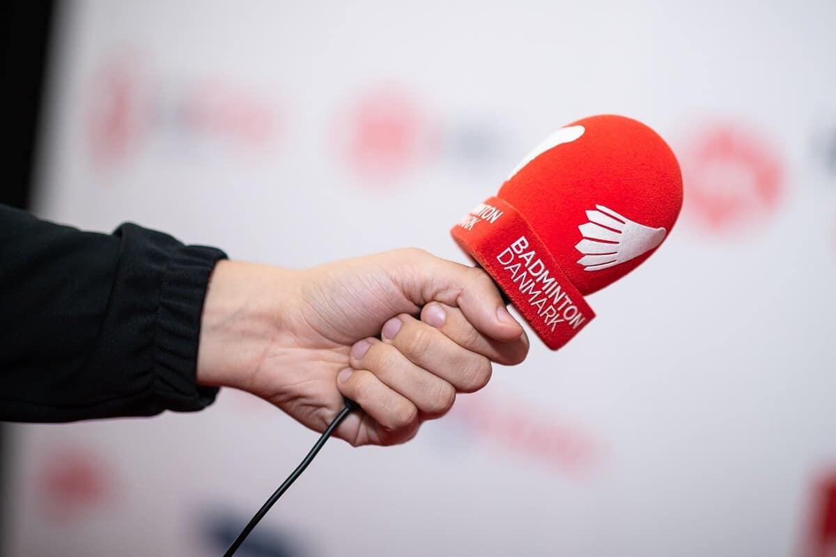 Mikrofon - Presse - Badminton Danmark - Denmark Open - rød - logo